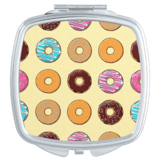 Donut Pattern on Yellow Makeup Mirrors