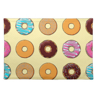 Donut Pattern on Yellow Placemat
