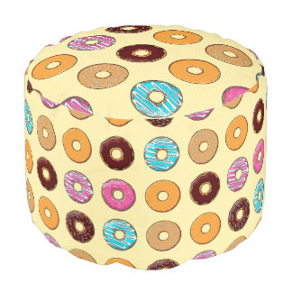 Donut Pattern on Yellow Pouf