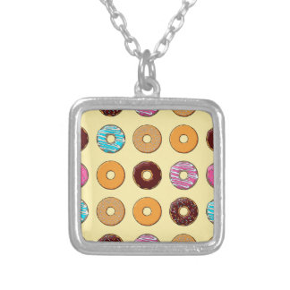 Donut Pattern on Yellow Silver Plated Necklace