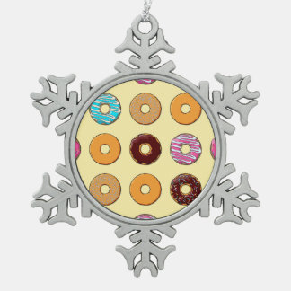 Donut Pattern on Yellow Snowflake Pewter Christmas Ornament