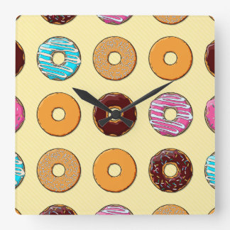 Donut Pattern on Yellow Square Wall Clock