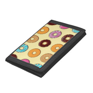 Donut Pattern on Yellow Trifold Wallets