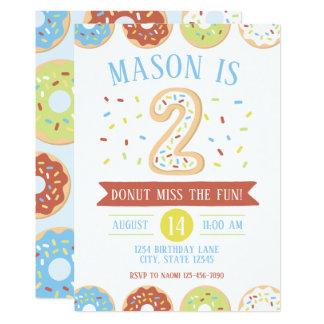 Donut Second Birthday Invitation