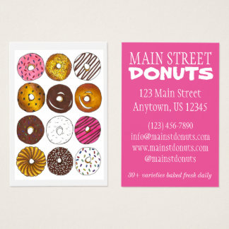 Donut Shop Donuts Doughnuts Breakfast Food Bakery Business Card