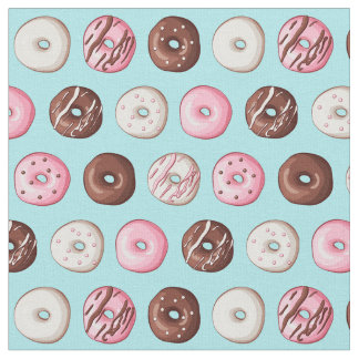 Donut Sweets on Blue Fabric Print