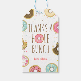 Donut thank you favor gift tags Girl Pink Doughnut Pack Of Gift Tags