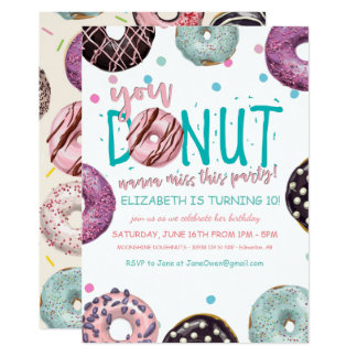 Donut Themed Birthday Invitation