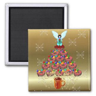 Donut Tree Square Magnet