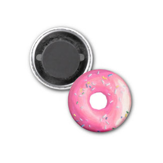 Donut With Pink Frosting And Sprinkles 1 Inch Round Magnet