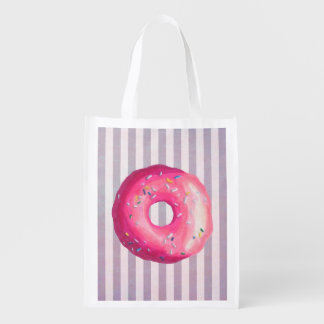 Donut With Pink Frosting And Sprinkles Grocery Bag