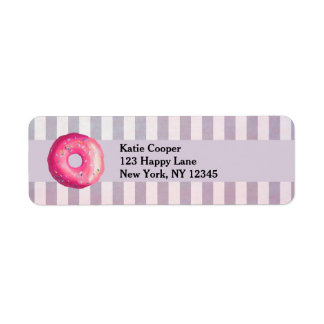 Donut With Pink Frosting And Sprinkles Return Address Label