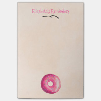 Donut With Pink Frosting & Sprinkles Personalized Post-it® Notes