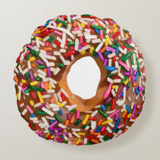 Donut With Sprinkles Round Pillow