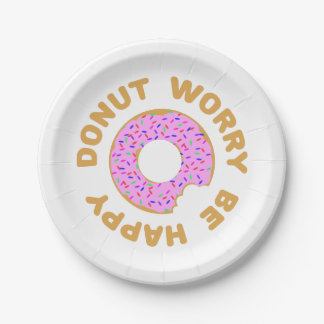 Donut Worry Be Happy Paper Plate