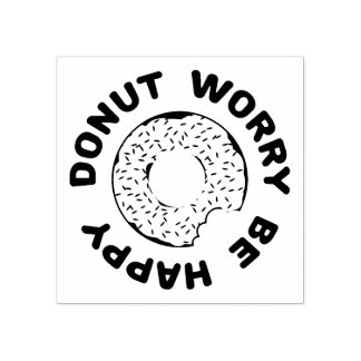 Donut Worry Be Happy Rubber Stamp