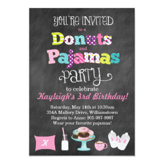 Donuts and Pajamas Chalkboard Style Invitation