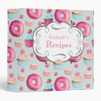 Donuts Cupcakes Muffins Macarons Custom Recipe 3 Ring Binder