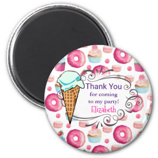 Donuts Macarons And Cupcake Party Thank You Custom 2 Inch Round Magnet