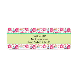 Donuts Macarons And Cupcake Pattern In Watercolor Return Address Label
