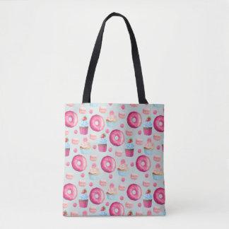 Donuts Macarons And Cupcake Pattern In Watercolor Tote Bag