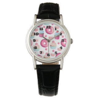 Donuts Macarons And Cupcake Pattern In Watercolor Watch