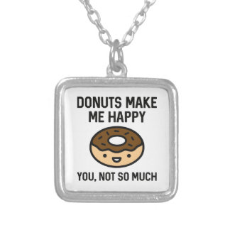 Donuts Make Me Happy Silver Plated Necklace
