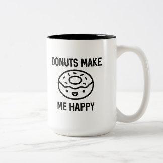 Donuts Make Me Happy Two-Tone Coffee Mug