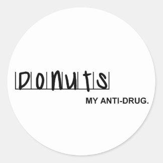 Donuts: My Anti-Drug Classic Round Sticker