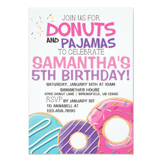 Donuts & Pajamas Birthday Invitation | 5x7