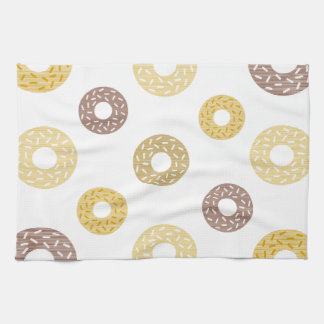 Donuts pattern - brown and beige. kitchen towel
