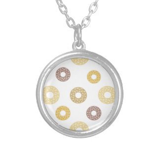 Donuts pattern - brown and beige. silver plated necklace