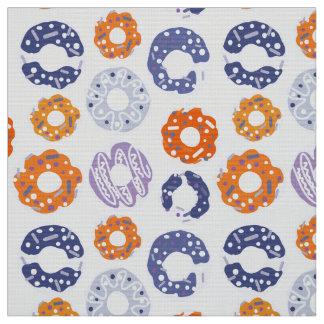 Donuts pop art cool blue orange pattern fabric