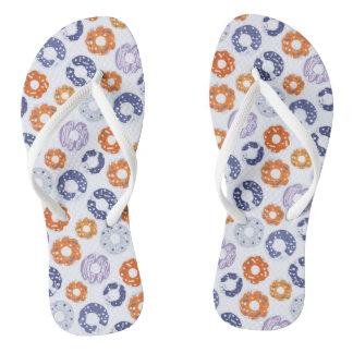 Donuts pop art cool blue orange pattern flip flops