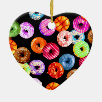 Donuts seamless pattern + your backgr. & ideas ceramic heart ornament
