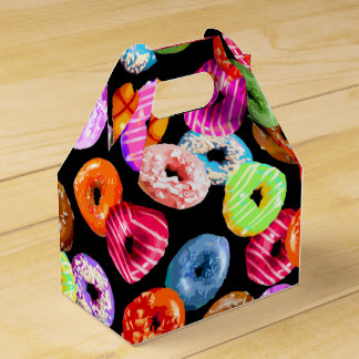 Donuts seamless pattern + your backgr. & ideas party favor box