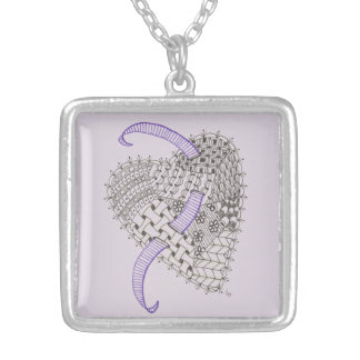 Doodle Art Heart Silver Plated Necklace