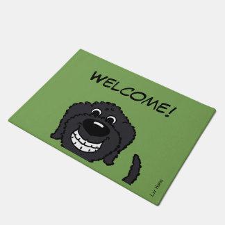 Doodle black welcome doormat