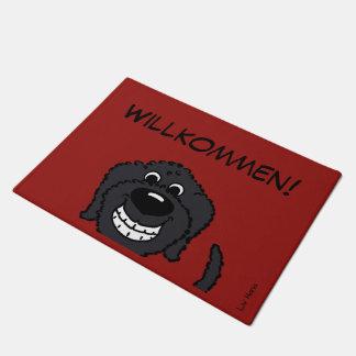 Doodle black welcomes doormat