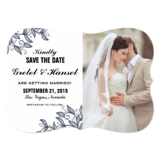 doodle botanical leaves photo save the date card