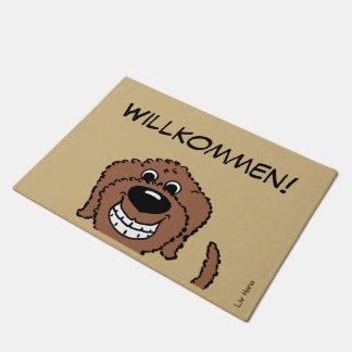Doodle brown welcomes doormat