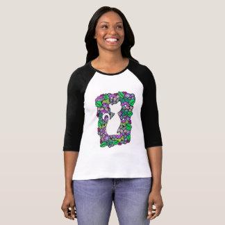 Doodle Cat Women's 3/4 Sleeve Raglan T-Shirt