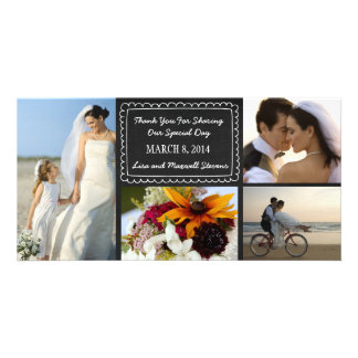 Doodle Chalkboard Wedding Photo Thank You Card Photo Card Template