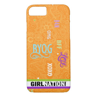 Doodle Chat iPhone 7 case Tangerine