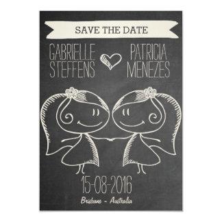 "Doodle Couple on Blackboard Lesbian Save the Date 5"" X 7"" Invitation Card"