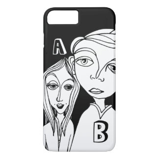 Doodle Couple & Two Personalized Letters iPhone 7 Plus Case