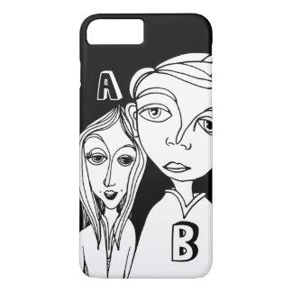 Doodle Couple & Two Personalized Letters iPhone 8 Plus/7 Plus Case