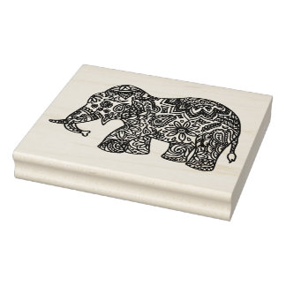 Doodle Elephant Rubber Stamp