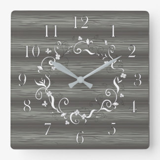 doodle floral frame on the wood square wall clock