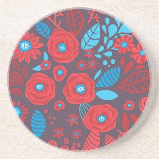 Doodle floral pattern coaster